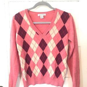 Banana Republic Merino Pink Ivory Argyle Sweater
